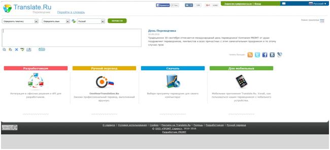 Онлайн-сервис Translate.ru