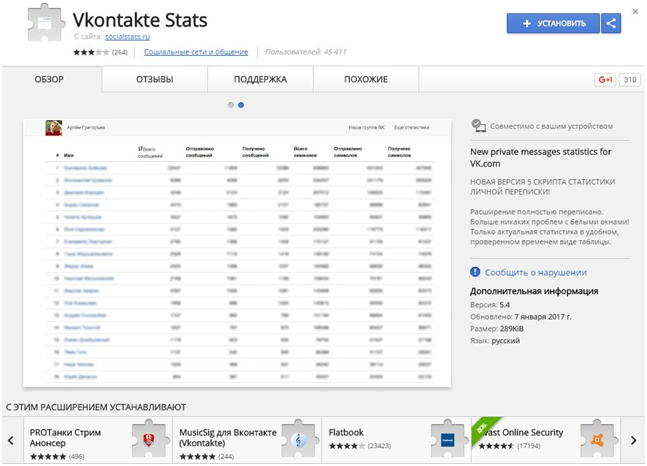 Vkontakte Stats в Google Store