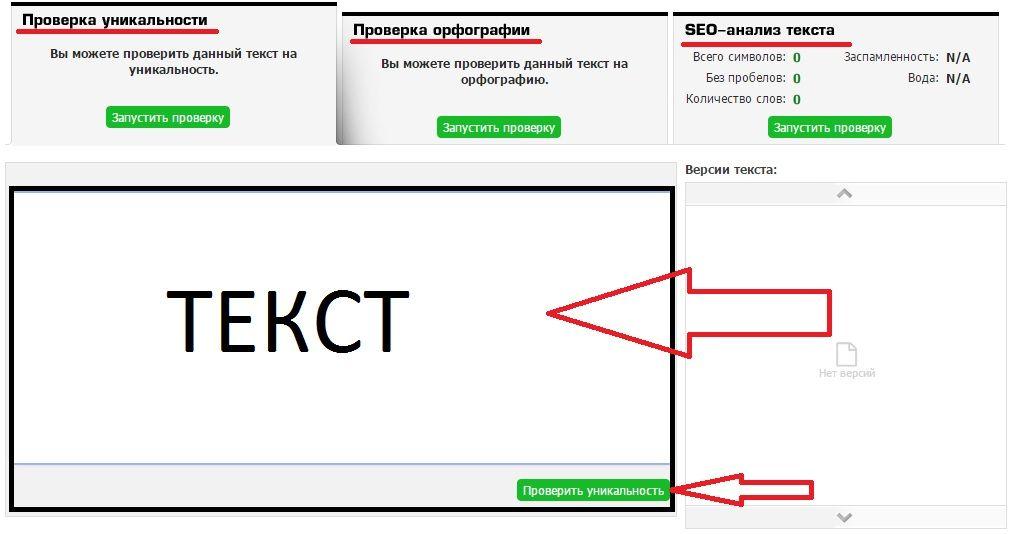 Форма проверки на Text.ru