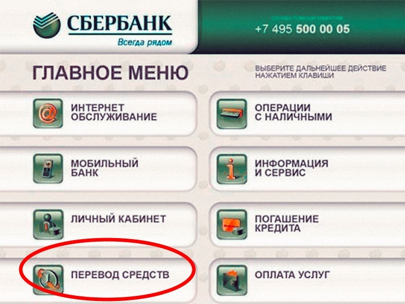 Перевод средств в банкомате